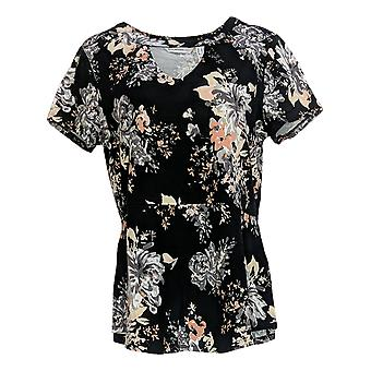 Isaac Mizrahi ao vivo! Women's Top Short Sleeve Floral Print Black A308015