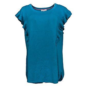 Isaac Mizrahi Live! Women's Maglione Flutter Manica Pullover Blu A308018