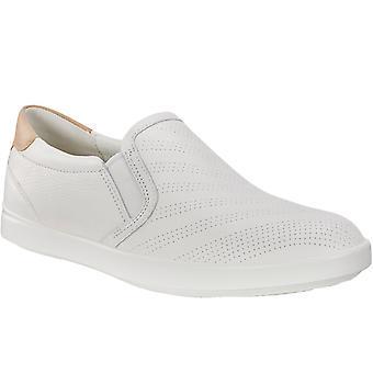 Ecco mujeres Gillian Slip On cuero casual mocasines zapatos - blanco