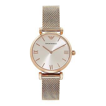 Armani Ar1956 Rose Gold Mesh & Silver Dial Ladies Watch