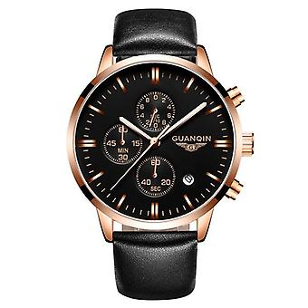Luxury GUANQIN Brand Men Fashion Wristwatch Waterproof Chronograph Leather