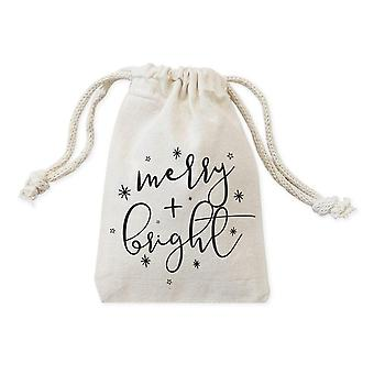 Merry And Bright Cotton Canvas Christmas Holiday Favor Bags