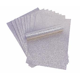 A4 Prata Glitter Paper Soft Touch Non Shed 150gsm Pack de 10 Folhas