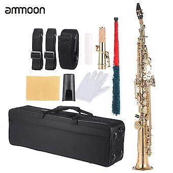 Ammoon messinki suora sopraano saksofoni bb b litteä puu tuuli instrumentti kuvio luonnollinen kuori avain
