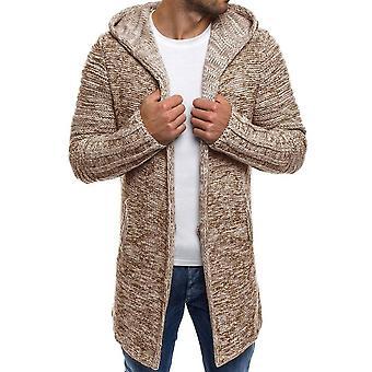 Men & apos;ق متماسكة الصوف معطف سترة الكارديجان مقنع لون الصلبة طويلة الأكمام