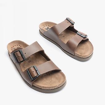 Mephisto Nerio Mens Leather Mule Sandals Dark Brown