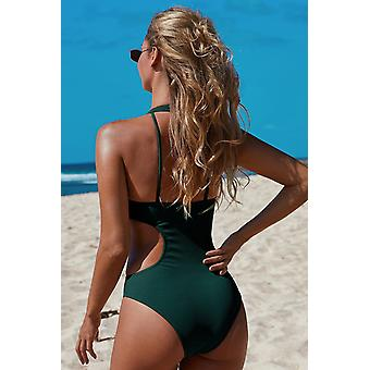 Frilled Neck Cut-out Ribbed Swimwear