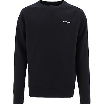 Balmain Vh1jq005b071eab Mænd's Sort bomuld sweatshirt