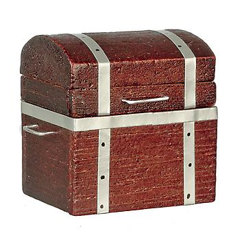 Dolls House Wooden Attic Trunk Ottoman Toy Box Chest Miniature 1:12  Accessory