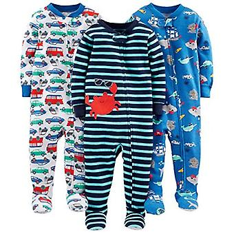 Simple Joys by Carter's Baby Boys' 3-Pack Snug-Fit Footed Cotton Pajamas, Mon...