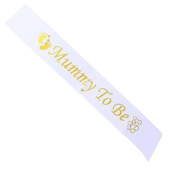 Pengxiaomei mummy to be baby shower sash mum to be sash satin gold & white