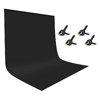 Utebit black backdrop with 4 photography clamps 6x9ft/1.8x2.8m pro less wrinkles foldable background