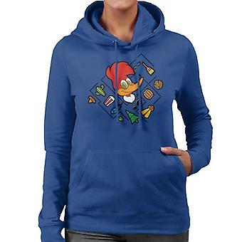 Woody Woodpecker Cabeza de personaje con iconos Mujeres's Sudadera con capucha