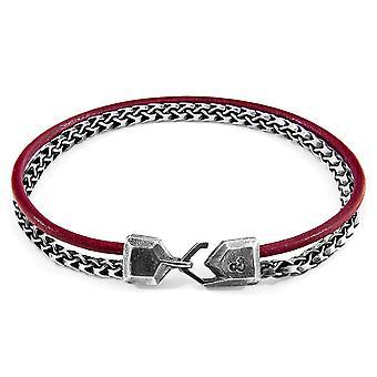 ANCHOR & CREW Bowspirit Mast Silver and Round Leather Bracelet