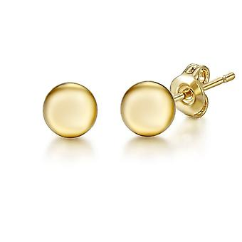 Jewelco London Ladies 18ct Yellow Gold 3D Round Bead Ball Studs Earrings - 5mm