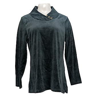 Denim & Co. Women's Sweater Active Regular Velour Tunic Blue A371431