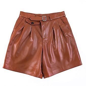 Mimigo Natural Leather Genuine Leather Shorts Women's Spring Real Sheepskin Leather Trouser Female Shorts