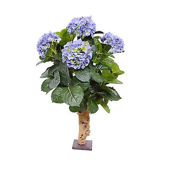 Kunsthortensia deluxe 65 cm op basis blauw