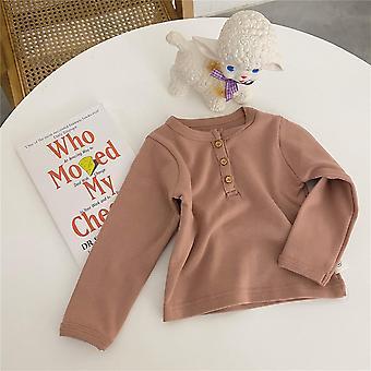 Forår, efterår, nyfødt baby,, Knap Toppe, Langærmet T-shirt, Solid