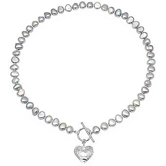 Pearls of the Orient Amare Hammered Heart Freshwater Pearl Necklace - Silver/Grey
