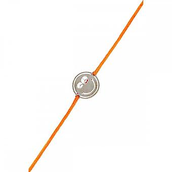 Smiley Black Silver cord bracelet and orange cord 'apos;Peace and Love'