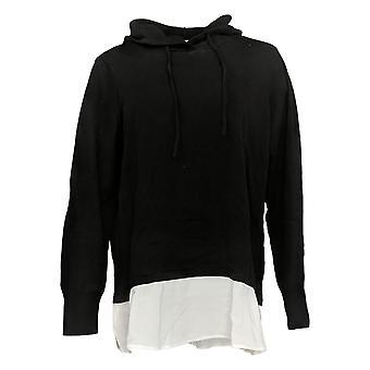 Susan Graver Dames's Sweater Katoen Met Capuchon Met Geweven Bies Zwart A379639