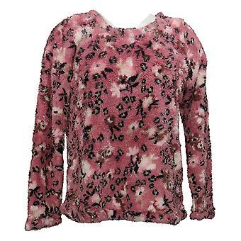 kos duds kvinner 's pyjamas topp faux sherpa pullover rosa a389421
