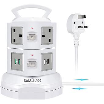 Gerui Tower Extension Lead,  Surge Protection Power Strip with 6 UK Sockets and 4 USB Ports