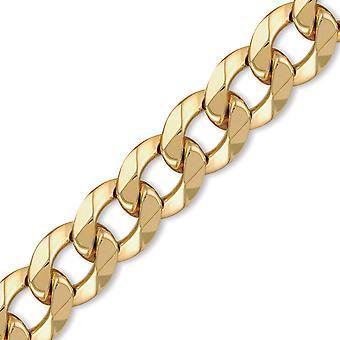 Klenotník Londýn muži ' s pevná 9ct žlutá zlatá tradiční těžká hmotnost obrubník 20 mm řetízek s tlakoměrem