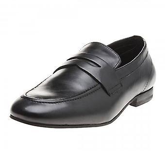 Hudson Bolton Saddle Carbon Black Leather Slip On Loafer Shoes