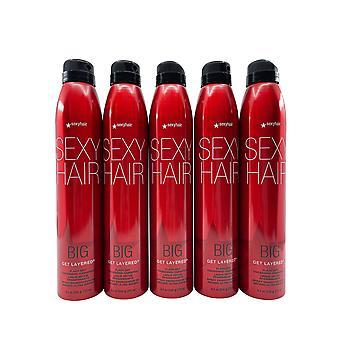 Sexy Hair Big Get Layered Flash dry Thickening Hairspray 8 OZ Set of 5