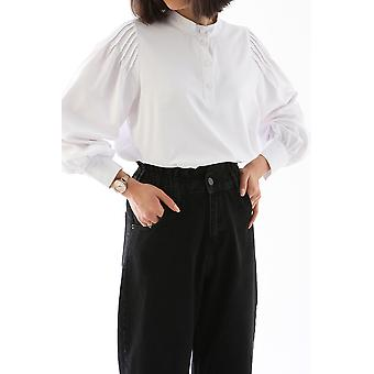 Peasant Sleeve Stand Collar Shirt