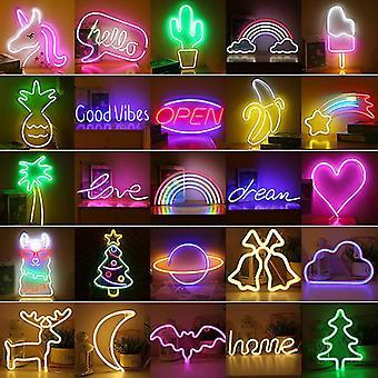 LED Neon Light Wall Art Sign Sovrum Dekor Regnbåge Hängande Nattlampa Hem Fest Semester Decor Jul