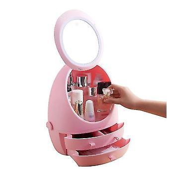 Kosmetyczne pudełko do przechowywania LED Light Mirror Drawer Typ Portable Desktop Skin Care Products (Pinklight)