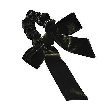 Velvet Head Rope Streamer Bow Knot Hair Loop High Elastic Tie Hair(Green)
