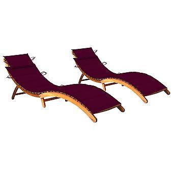 lettini vidaXL 2 pezzi. con supporti in acacia in legno massello