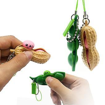 2PCS Fidget Toys Squeeze Peanut Edamame Keychain Pendant Stress Relieving Chain Toys