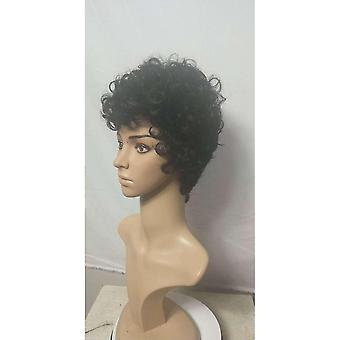 Ladies Black Small Curly Short Wig