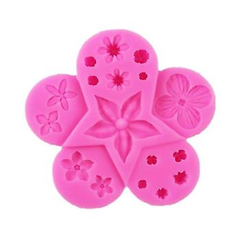 (Pink) Flowers Leaf Silicone Cake Mould Resin Leaf Fondant Baking Icing Mold DIY Decor
