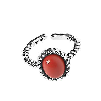 3PCS Silver plating Finger Rings for Women Fashion Vintage Red Stone Chain Weaving Geometric Party