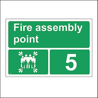 FS249 Fire Assembly Point 5 Sign with Arrows People Number 5