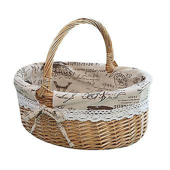 Picnic Basket Natural Woven Woodchip With Double Folding Handles  Basket(Khaki)