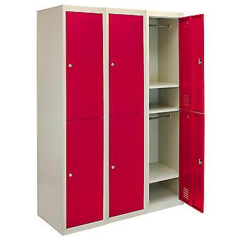 Metal Lockers 2 Doors Steel Staff Storage Lockable Gym School Changing Room Red