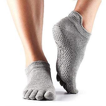 ToeSox Full Toe Low Rise Grip Strumpor för Barre Pilates Yoga Dance - Ljunggrå