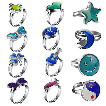 Cute Little Animals For Boys, Girls And Children, Heart-shaped Peculiar Thermochromic Ring, Christmas Gift Ring (12 Pieces)