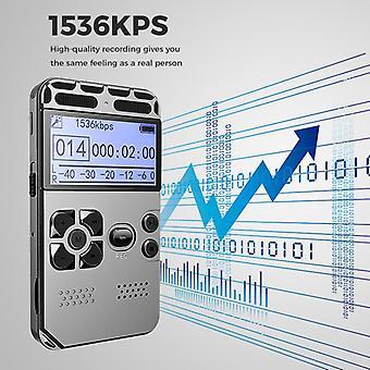 16 GB HD Studio Digitális hangrögzítő Diktafon WAV MP3 lejátszó felvétele