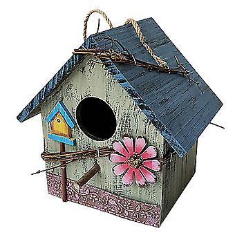 Domů Nástěnná hora Venkovní deštivé ptačí hnízdo Dřevěné umění Dřevěná vila Balkon Podavač ptáků Zavěšení