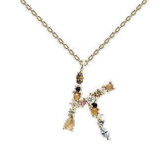 925 Sterling Silver English Letter Necklace K/ladies Necklace With Crystal Pendant