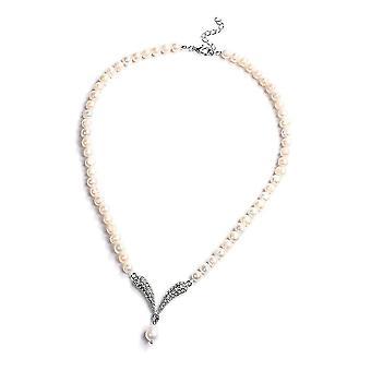 Perlenkette Halskette für Frauen 20'' Perle und Kristall Geschenk für Frau/Mutter 1,1 ct
