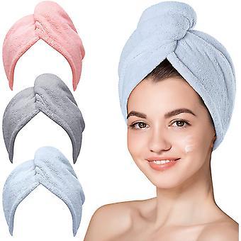 3 חבילות מגבת שיער מיקרופייבר טורבנים לייבוש שיער רטוב מגבות לשיער